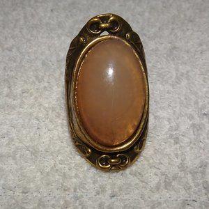 Large Cabochon Antique Gold Finish Ring Size 7.75